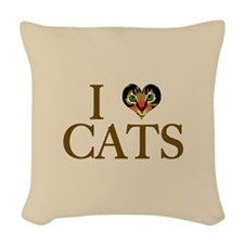 I Heart Cats Woven Throw Pillow
