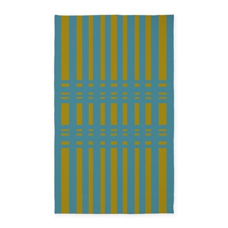 Yellow Turquoise Striped design 3'x5' Area Rug