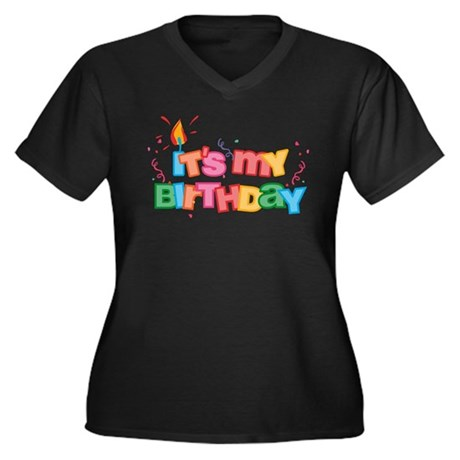 It's My Birthday Letters Women's Plus Size V-Neck