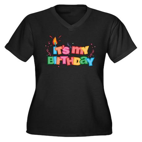 It's My Birthday Letters Women's Plus Size V-Neck