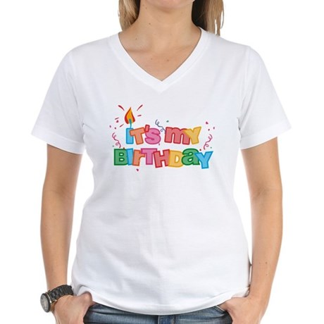 It's My Birthday Letters Women's V-Neck T-Shirt