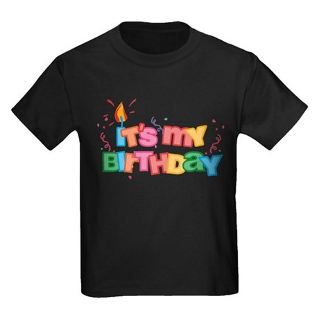 It's My Birthday Letters Kids Dark T-Shirt