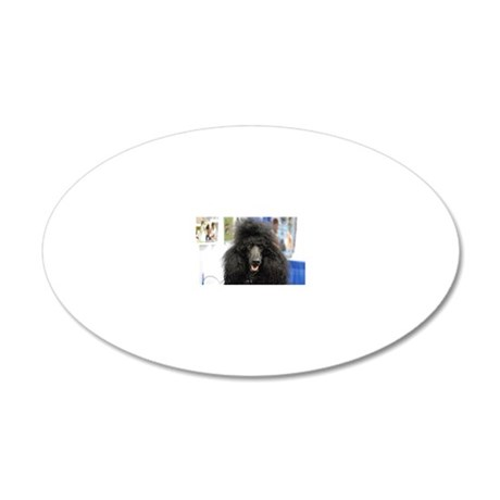 Black Poodle 20x12 Oval Wall Decal