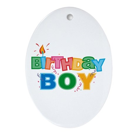 Birthday Boy Letters Oval Ornament