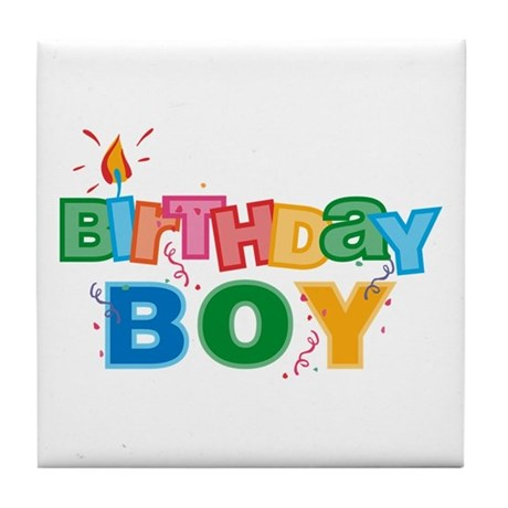 Birthday Boy Letters Tile Coaster