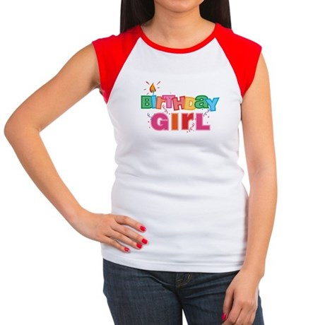 Birthday Girl Letters Women's Cap Sleeve T-Shirt