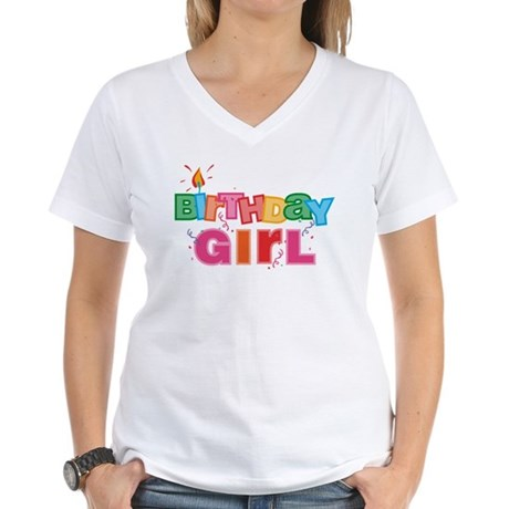 Birthday Girl Letters Women's V-Neck T-Shirt