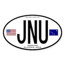 Juneau Alaska Euro Oval Sticker - JNU