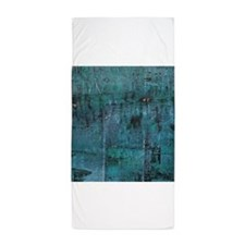 Blue rustic wood square textures Beach Towel