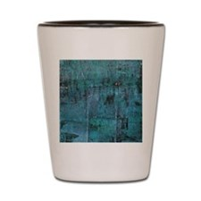 Blue rustic wood square textures Shot Glass