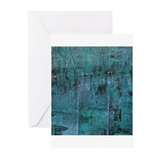 Blue rustic wood square textures Greeting Cards