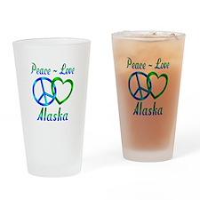 Peace Love Alaska Drinking Glass