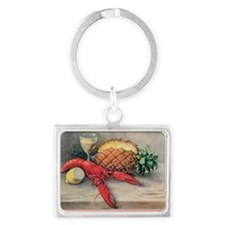 Vintage Still Life of Lobster,  Landscape Keychain
