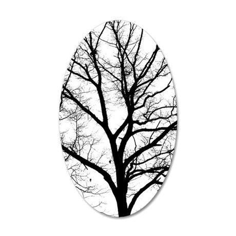 A one color tree filtered ph 35x21 Oval Wall Decal