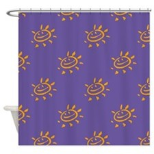 Golden Sunny Face On Purple Shower Curtain