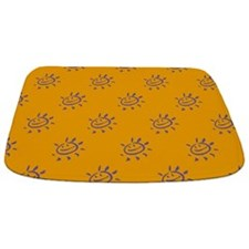 Purple Sunny Face on Gold Bathmat