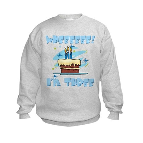 Wheee I'm Three Blue Kids Sweatshirt