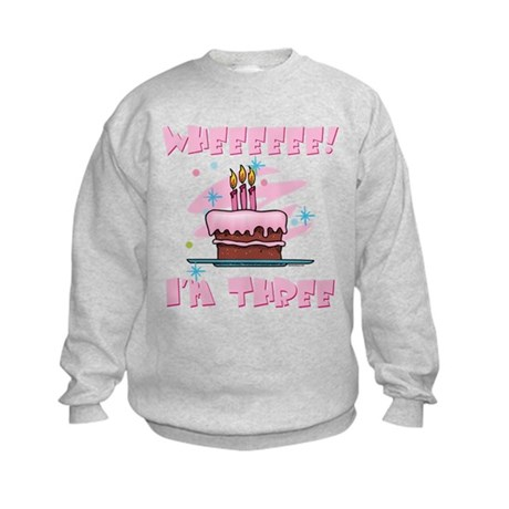 Wheee I'm Three Pink Kids Sweatshirt