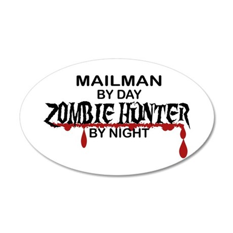 Zombie Hunter - Mailman 20x12 Oval Wall Decal