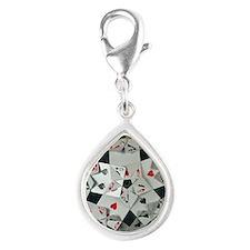 Poker Heart Silver Teardrop Charm