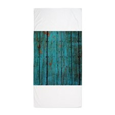 Teal nailed wood fence texture Beach Towel