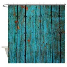 Teal Nailed Wood Fence Texture Shower Curtain For