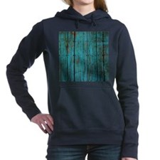 Teal nailed wood fence texture Hooded Sweatshirt