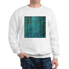 Teal nailed wood fence texture Sweatshirt