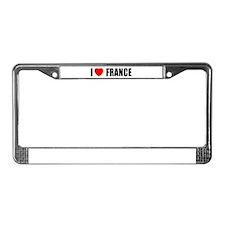 I Love France License Plate Frame