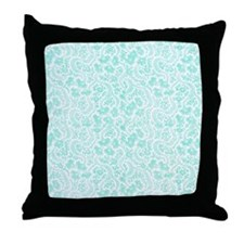 Teal Floral Throw Pillow