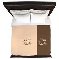 Beige Brown Her Side / His Side King Duvet