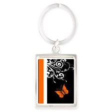 Orange Black and white Butterfly Flourish Keychain