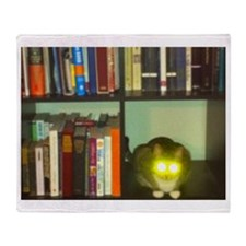cat headlights eyes book Throw Blanket