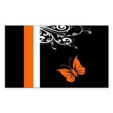 Orange Black and white Butterfly Flourish Decal