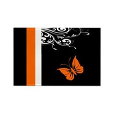 Orange Black and white Butterfly Flourish Magnets