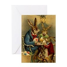Easter rabbits painting eggs 2 Greeting Card