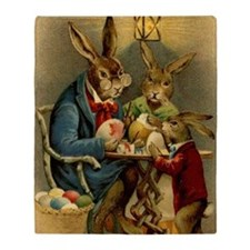 Easter rabbits painting eggs 2 Throw Blanket