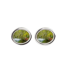 Autumn landscape with trees and river 2 Cufflinks