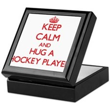 Keep Calm and Hug a Hockey Player Keepsake Box