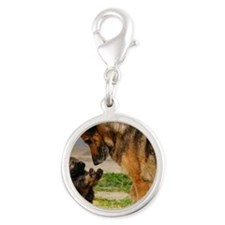 Shepard Mom with Pup Silver Round Charm