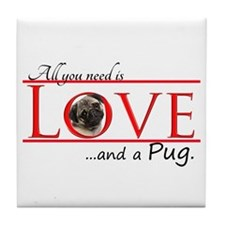 Love a Pug Tile Coaster