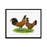 Gold Brabanter Chickens Framed Panel Print