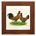 Gold Brabanter Chickens Framed Tile