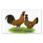 Gold Brabanter Chickens Rectangle Sticker