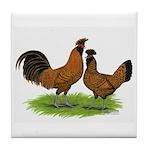 Gold Brabanter Chickens Tile Coaster