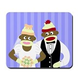 Sock Monkey Marriage Wedding Mousepad