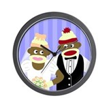 Sock Monkey Marriage Wedding Wall Clock
