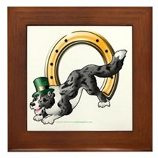 Irish Border Collie BlueMerle Framed Tile