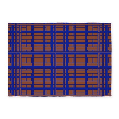 Modern Brown Blue Square Pattern 5'x7'Area Rug