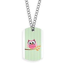 Cute Pink Chevron Owl 1 Dog Tags